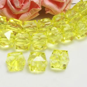 Beads, Imitation Crystal beads, Acrylic, Mustard, Faceted Cubes, 12mm x 12mm x 12mm, 15g, 20 Beads, (SLZ0551)